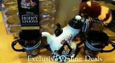 DISNEY PARK ALICE IN WONDERLAND TRIPLE TEA: 1 POT SET 2 CUPS & HONEY SPOONS