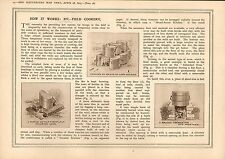 1915 WWI PRINT ~ FIELD COOKERY CAMP KETTLES BRICK & CLAY FIELD OVENS KITCHEN