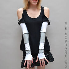 1047 Grey White Long Recycled Patchwork Cotton Arm Warmers Gloves Thumb Holes