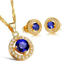 18K Gold GP SWAROVSKI Element Crystal Classic Round Earring Necklace Set Blue