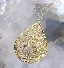 Delicate Large Chain Openwork Goldtone Teardrop Pendant Mother of Pearl Necklace