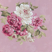 """Cotton 100% Satin weave Fabric Bedding Elegance chic Rose Bouquet Pink 44""""w BTY"""