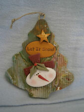 Unique Handmade FIMO Polymer Clay NO MOLDS USED Ornament - Let It Snow Man Tree