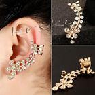 1Pc Women's Punk Rock Retro Crystal Flower Earring Cuff Warp Clip Ear Stud New