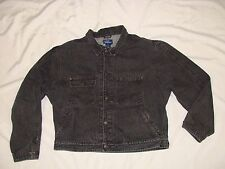 POLO RALPH LAUREN Made in USA BLACK Denim Pleated Shoulder JEAN JACKET Mens XL