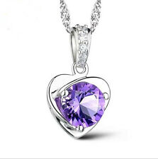 wholesale 925 Silver Necklace Amethyst Heart Pendant Jewelry Valentine's Gift