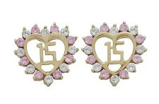10K Solid Yellow Gold CZ Quinceanera Heart Earrings [3 Colors]