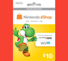 US / USA $10 Nintendo 3DS Wii U Prepaid Points Card eShop - WORLDWIDE SHIPPING!!