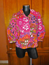 See by CHLOE Colorful Print 100% Cotton Crop A-line 3/4 Slv COAT JACKET sz 6/42