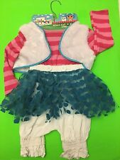 NWT LALALOOPSY HALLOWEEN COSTUME MITTENS FLUFF N STUFF  DRESS GIRLS 4-6X VEST