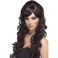 Womens Brown Pop Starlet Glam Wig Long Curly Star Fashion Brunette Model Fancy