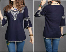 Blue Women Totem Pattern Vintage Ethnic Embroidered Cotton Casual Tops Blouse