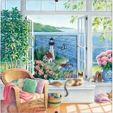 Dimensions D73262 Beach Tranquility Counted Cross Stitch Kit with Mat/Clip Frame