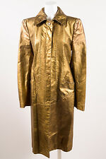 Just Cavalli Gold Leather Metallic Long Sleeve Full Length Trench Coat SZ 42
