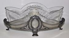 Antique WMF Silverplate Art Nouveau Centerpiece Bowl & Cut Crystal Liner Ostrich