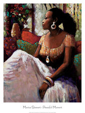 AFRICAN AMERICAN ART PRINT Peaceful Moment by Monica Stewart 24x32 Female Poster