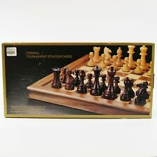 Original Tournaments Stauton Chess - Folding Board, Carved Wood Pieces