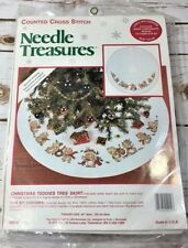 "Counted Cross Stitch Needle Treasures Christmas Teddies 1995 Tree Skirt 40"" NEW"