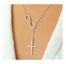 Infinity Halskette - Kreuz Anhänger - silber - 40cm - 24h Versand