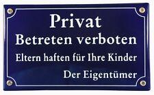 Emaille Privat Schild Betreten verboten Emailleschild Verbotsschild Warn 25x15cm