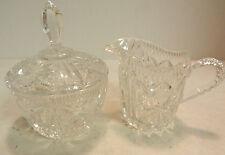"""Vintage Starburst Pattern Glass Cream 3.5"""" x 2.5"""" & Sugar 3.5"""" x 5"""" Excellent"""