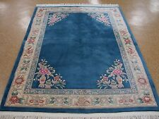 5' x 8' CHINESE Peking Hand Knotted Wool BLUE IVORY Oriental Rug