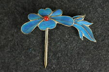 Antique Chinese blue Kingfisher feather hair stick pin ornament [Y9-W6-A9-E9]