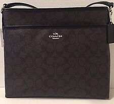 NWT Coach 58297 Signature File Bag Coated Canvas Handbag Brown / Black