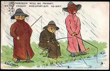 ARTIST SIGNED LOUIS WAIN  3 CATS FISHING.  VINTAGE POSTCARD USED 1910 ..