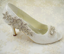 Handmade Ivory Beaded Lace Bridal Shoes Rhinestone Pearl Wedding Shoes UK 3-8