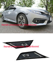 For 16-Up Honda Civic Smoke Front Bumper Reflector Side Marker Lights Lamps