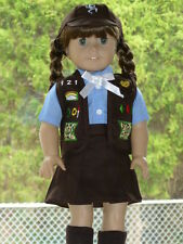 "SCOUT BROWNIE SKIRT VEST UNIFORM Outfit Fits 18"" American Girl Doll Clothes 5 Pc"