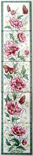 Victorian Peony Vertical Decorative Tile Panel Victorian Fireplace 5 Tile Panel
