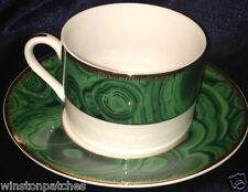NEIMAN MARCUS HORCHOW HCH5 FLAT CUP & SAUCER 8 OZ GREEN MARBLE RIM GOLD TRIM