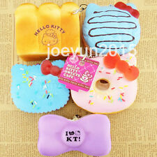 New 5PCS Jumbo KT Cat Squishy Straps Soft Bread Toast Puff Donuts Biscuit Toys