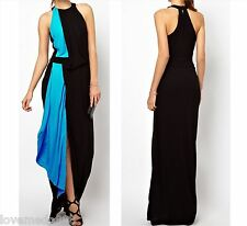 Womens Evening Club Party Open Back Contrast Coloblock Long Maxi DRESS XS-4XL
