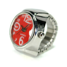 WATCH RING Finger Stretch Band Chrome Time Piece Jewelry Large Number Red Gift