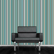 Sophia Arthouse Striped Stripy Teal Cream Brown Barcode Wallpaper