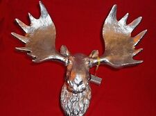 "Beautiful Large Silver Color Faux Moose Head Plaque Wall Hanging 15""x12"""