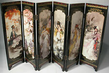 Desk decorative Chinese ancient beauties 6 panel folding wooden screen