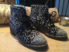 Chanel Lace Up Boots 14B FAN FAB TWEED! SIZE 38.5