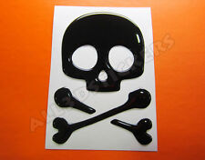 3D Sticker Decal Resin Domed Pirate Skull Adhesive Decal  Black
