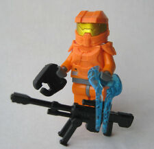 Lego Custom HALO MASTER CHIEF Spartan Minifigure -ORANGE- Sniper, Sword, Pistol