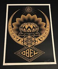 "Shepard Fairey ""Lotus Ornament (Gold/Black)"" S/N MINT Obey Giant Poster Print 08"