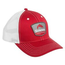 "Simms Trout Trucker Fly Fishing ""Authentic"" Patch Hat Cap Red & White Color NEW!"