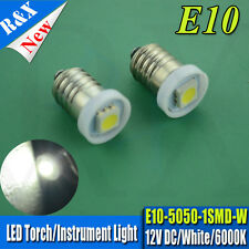 10 X NEW 5050 LED LAMP E10 SCREW 12 VOLT XENON WHITE BICYCLE TORCH GAUGE E10 MES