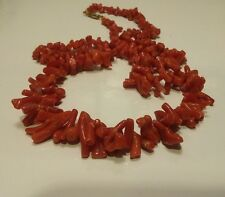 Vintage rare natural red branch coral necklace long unique piece