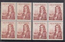 Stamps Australia 50c Dampier in blocks of 4 distinct cream & white paper type
