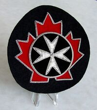 Canadian St. John Ambulance blazer crest with red velvet and Silver bullion wire