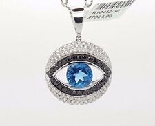NEW 18K WHITE GOLD BLACK / WHITE DIAMOND & BLUE TOPAZ BIG EVIL EYE ROUND PENDANT